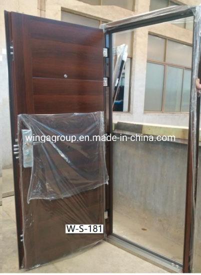 Brown Wood Color Steel Security Entry Door Apartment Doors W-S-181