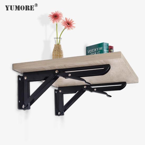 Adjustable Steel Custom Folding Wholesale Aluminum Frame T Slot Angle 90 Degree Corner OEM Machinery Supporting Folding Shelf Bracket