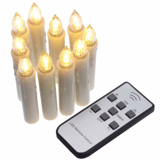 Taper Candles with Remote Timer Function - Christmas Candle with LED Lights