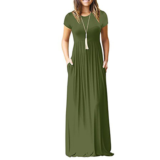 Women Short Sleeve Loose Solid Color Dress Casual Party Long Dress pictures & photos