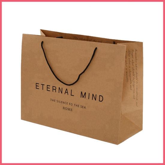 Printed Paper Shopping Craft Gift Custom Brown Kraft Paper Bag