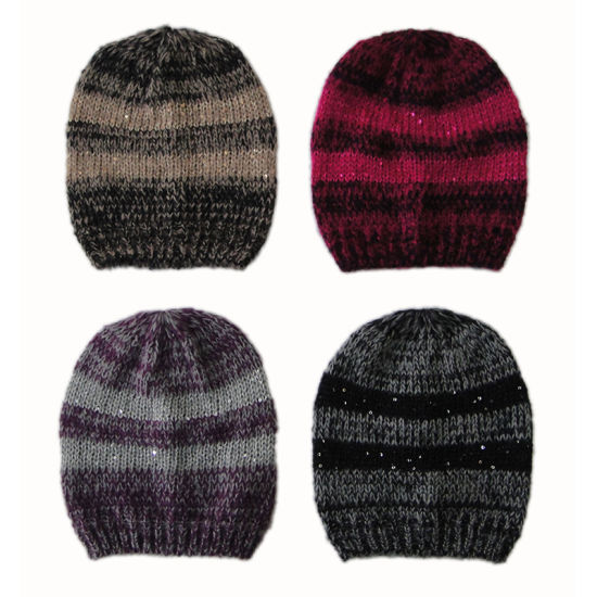 Lady Winter Warm Fashion Marl Knit Hat Cap with Sequin