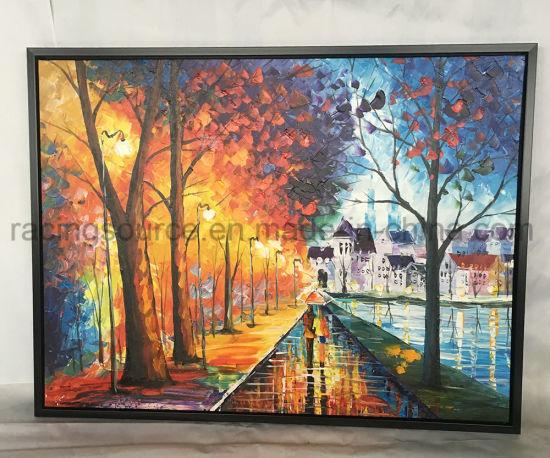 Scenery Knife Oil Painting Landscape Framed Art Canvas For Home Decor