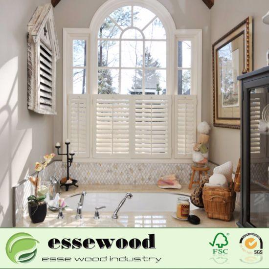 cafe style decorative wood cheap plantation louvered shutter window