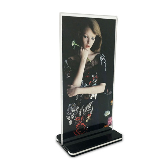 wholesale cheap t shape a5 clear acrylic wall mounted block sign holder pictures photos
