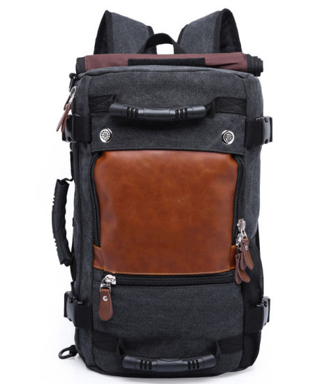 Black X1 New European & American Large-Capacity Canvas Backpack Multi-Function Double Shoulder Canvas Male Female Travel Bag Duffel Pack