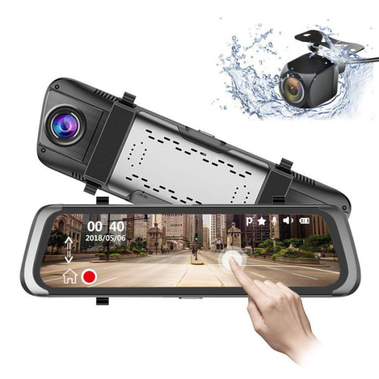 """9.66"""" IPS Touch Screen 1080P Dual Dash Cam Front and Rear View Mirror Car Camera"""