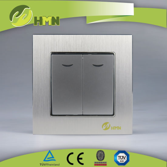 European standard TUV CE CB certified Aluminum double 2 way with LED SILVER switch