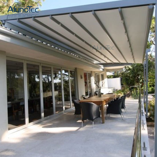 China Restaurant PVC Retractable Pergola Patio Awning Covers System ...