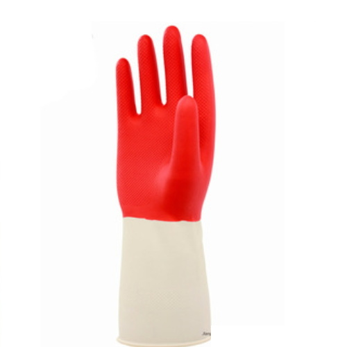 Red and White Mixed Latex Coated Industrial Safety Work Gloves