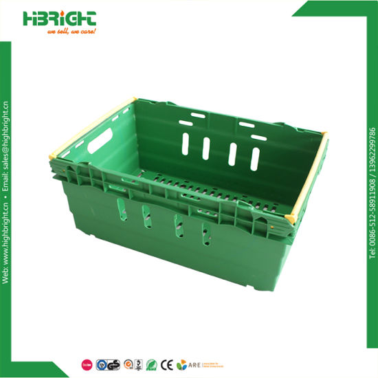 Farm Store Vented Foldable Stacking Plastic Fruit Crate pictures & photos