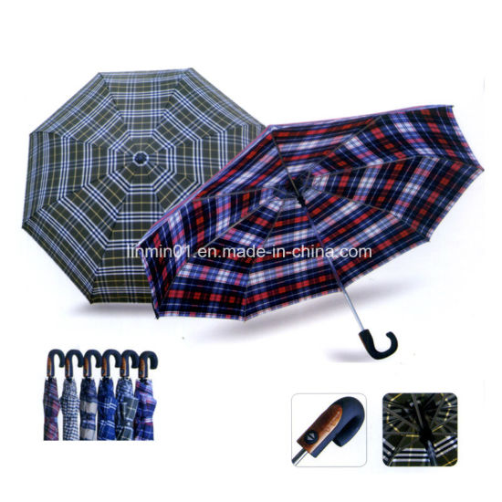 Outdoor Curved Handle Rain Sun Folding Umbrella with Printing