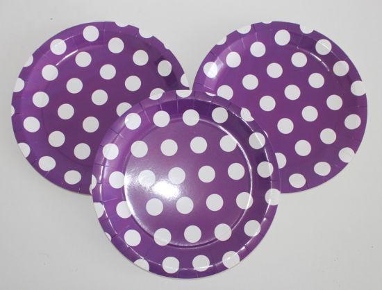 Purple Polka DOT Household Daily Use Disposable Paper Plates & China Purple Polka DOT Household Daily Use Disposable Paper Plates ...