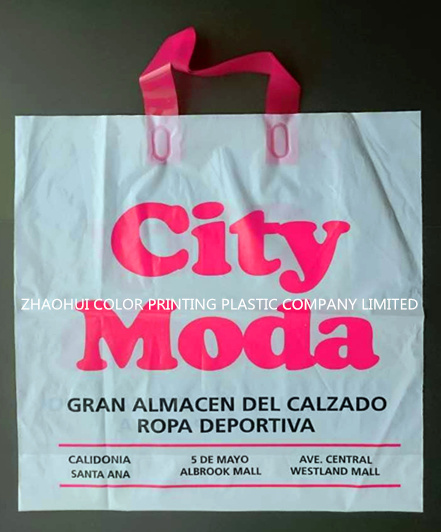 Printed Plastic PE Shopping Bag with Soft Loop Handle