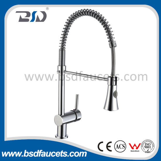 Chinese Solid Brass Pull out Spray Spring Kitchen Faucets - China ...