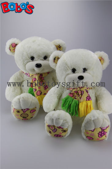Soft Cute White Color Smile Teddy Bear with Nice Scarf pictures & photos