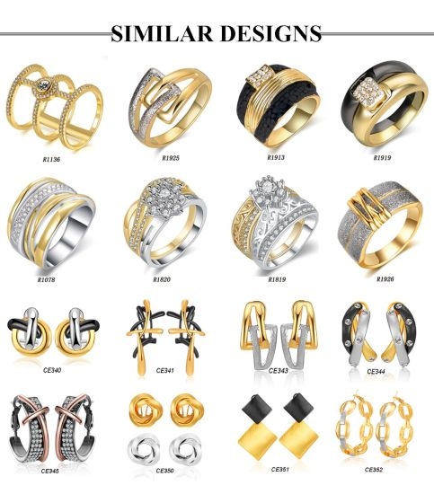 2018 Costume Jewelry Latest Designs Two-Tone Gold Earring for Women pictures & photos