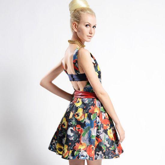 Women Printed Stretch Cotton Short Length A Line Skirt Dress