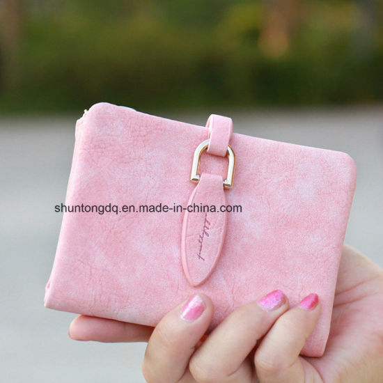 Lady Snap Fastener Short Clutch Wallet Vintage Matte Women Wallet Fashion Small Female Purse Short Coin Card Holder pictures & photos