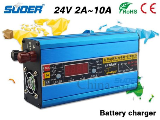 Suoer Electric Car Battery Charger 24V 10A Charger with Engine Starts Function (DC-2410A)