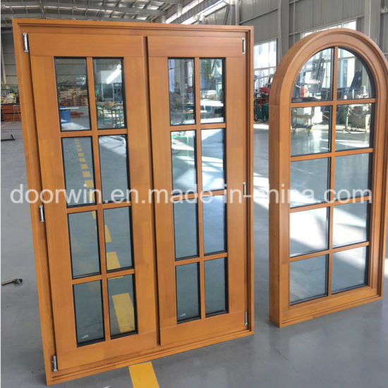 Arched Round-Top Casement Solid Pine and Larch Wood Window with Grill Design