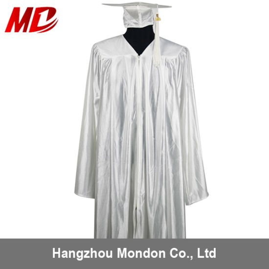 19796927cfc China White Graduation Toga with Cap- Shiny - China Graduation Toga ...