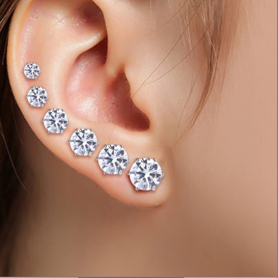 Fashion Synthetic Diamond Jewelry Earrings Silver With Swarovski Elements