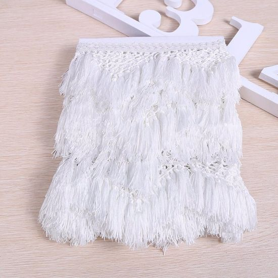 Wholesale High Quality 13cm Polyester Fringe Tassel for Curtain Decoration
