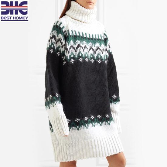 Women′s Wool Blend Oversized Intarsia Knitted Turtleneck Multicolored Mini  Sweater 35a25de65