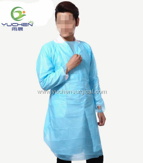 Disposable CPE Blue Waterproof Surgical Gown with Elastic Cuff