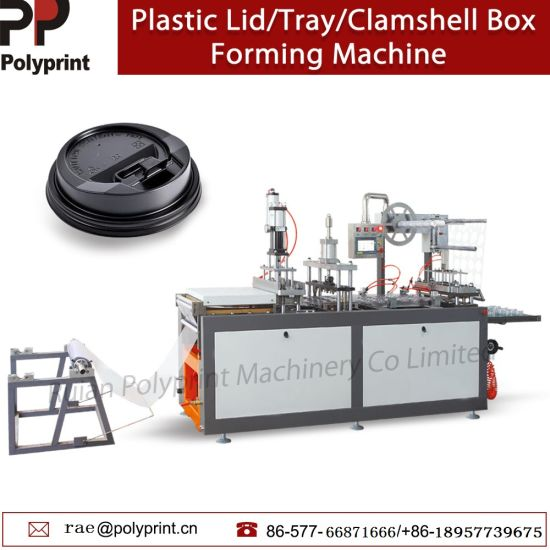 PS PVC Plastic Disposable Paper Drink Cup Lid with Hole Nose Food Package Tray Container Box Thermoforming Forming Making Machine