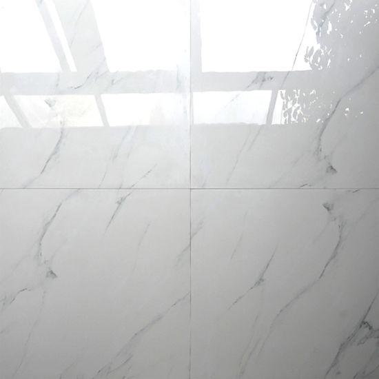 China Polished Glazed Porcelain Floor White Marble Tile 600X600 ...