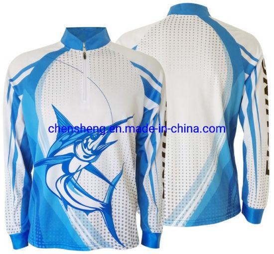 Long Sleeve 100%Polyester Mesh Fishing Shirts UV Protection Full Sublimated Bass Unisex T-Shirt