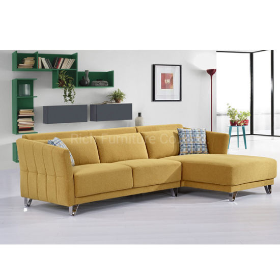 Modern Drawing Room Fabric Cushion Sectional Corner Sofa ...