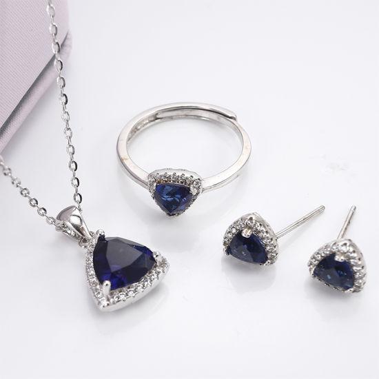 Wholesale Custom Jewelry 925 Sterling Silver CZ Bridal Jewelry Set with  Blue Corundum - China Fashion Jewelry and Fashion Jewellery price |  Made-in-China.com