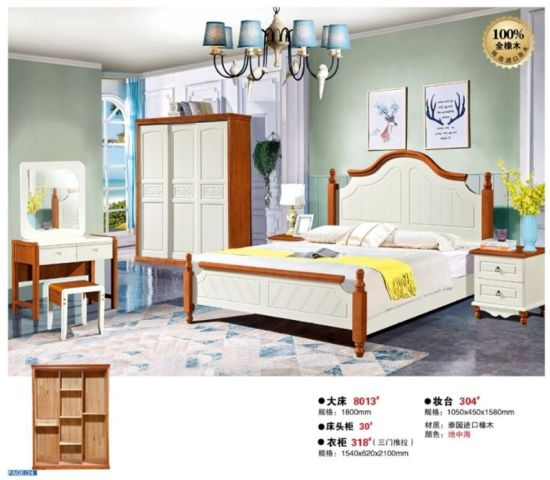 Home Living Room Furniture Solid Wood King Oak Bed Set ...
