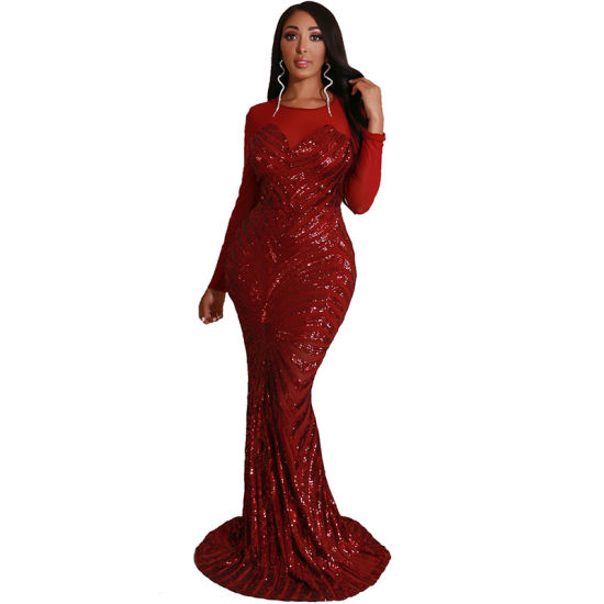 L5156 Casual Sequin Maxi Evening Dress pictures & photos
