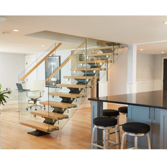 Straight Staircase Steel Glass Combination Staircase for Modern Style