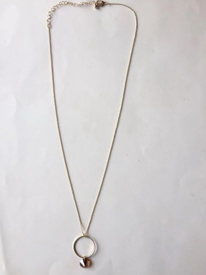 Fashion Necklace Chain Gold with Circle and Canary Yellow Diamond Style Pendant 28~32+4cm