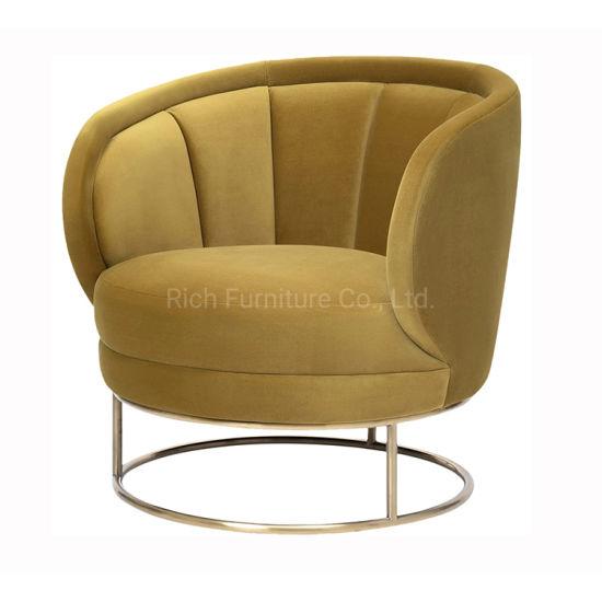 Leisure Sofa Chair Modern Armchair Velvet Sofa Living Room Furniture with Brass Golden Metal Legs