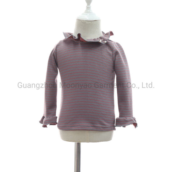 Frill Neck Collar Striped Cotton Baby Kids Top T Shirt for Wholesale