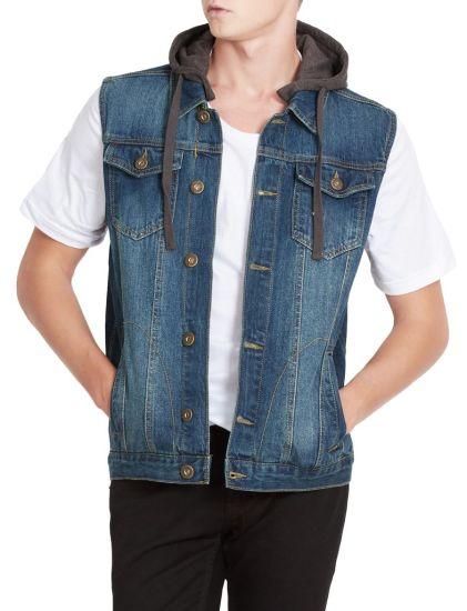 Custom Blue Denim Jean Jacket with Hood 2019