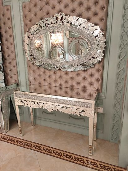 High Quality Diamond Crush Mirrored Console Table with Mirror Set