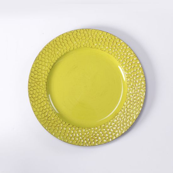 Newest Wholesale Handmade Plastic Yellow Plate