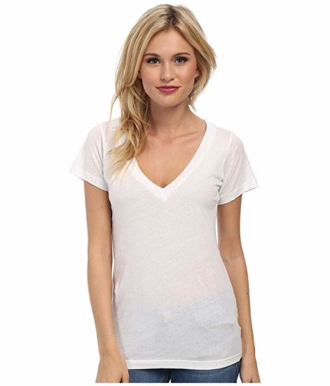 Fashion Clothing White Modal Tee Customized Logo Deep V Neck Women Tshirt