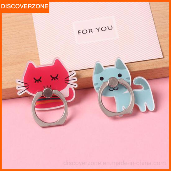 Cute Cartoon Cat Phone Holder Head Ring Buckle Bracket Paste Type Cat Acrylic Ring Bracket Custom Shaped Ring