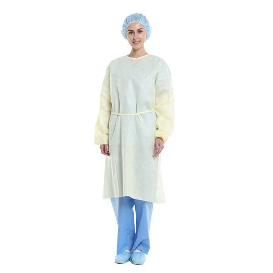 Disposable PP/SMS Isolation Gown with Elastic Cuff with Knit Cuff Tie up Back Velcro Back Light Weight Multi-Ply Material AAMI Level 2/3 Professional Factory