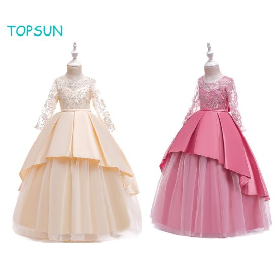 Little Big Girls' Tulle Retro Vintage Dresses Flower Lace Pageant Party Wedding Floor Length Dance Evening Gown
