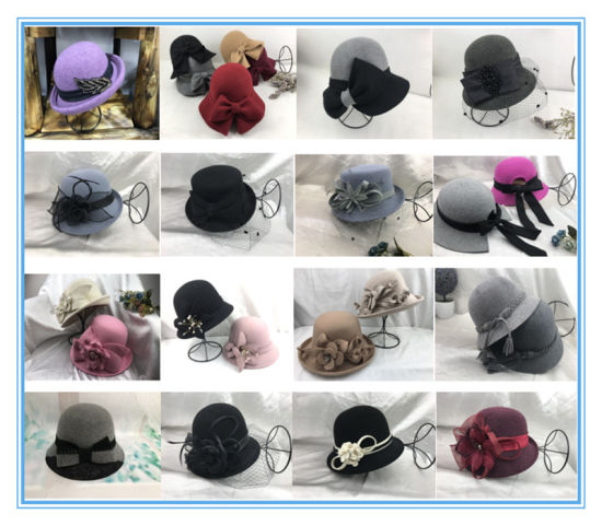 2019 Fashion Women Wool Felt Cloche Hat Fedora Hat for Winter
