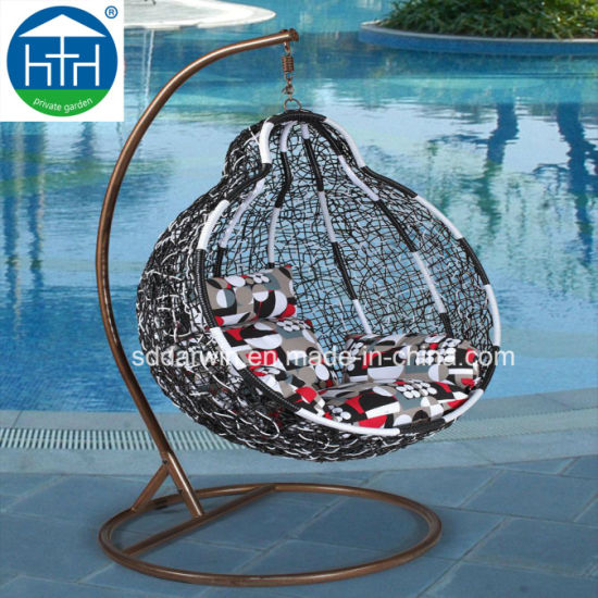 Wholesale PE Rattan Hanging Swing Round Chair for Garden Furniture